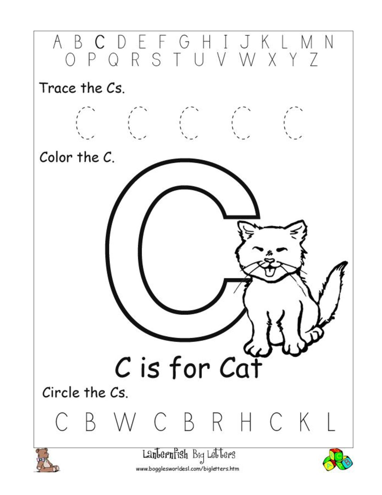 6 Best Images Of Free Printable Preschool Worksheets Letter C | Day - Free Printable Preschool Worksheets Letter C