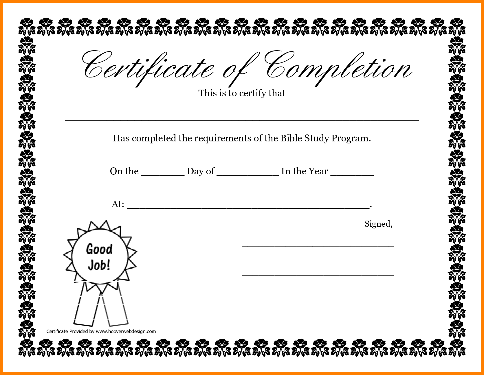 6+ Certificate Of Completion Template Free Printable | Ledger Review - Certificate Of Completion Template Free Printable