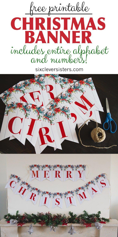 6 Free Printable Christmas Signs | Christmas | Pinterest | Merry - Free Printable Christmas Banner