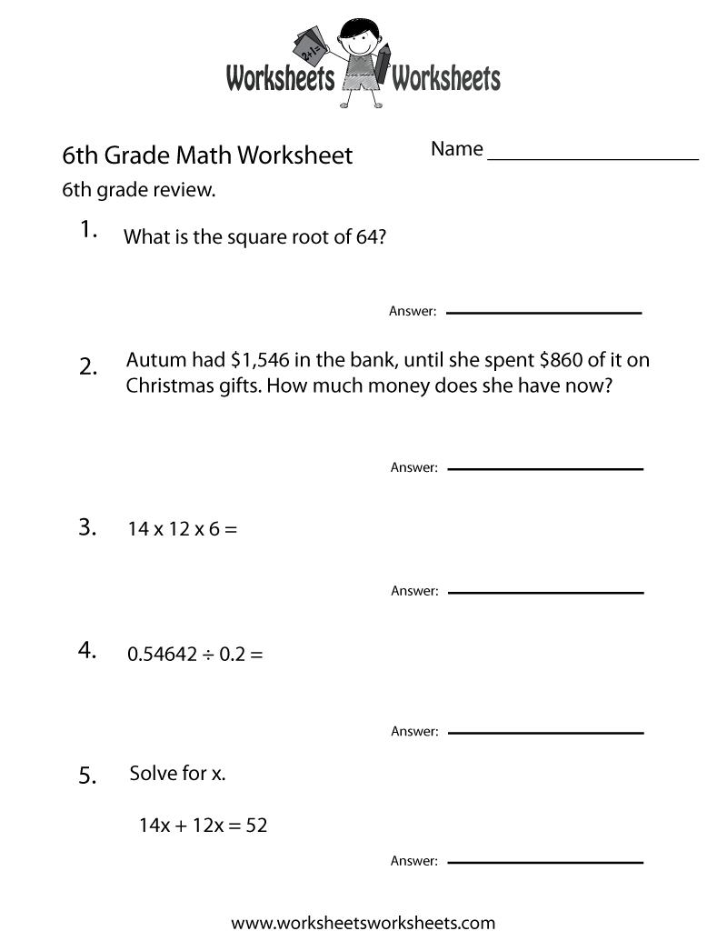 6 Grade Math Worksheets   Sixth Grade Math Practice Worksheet - Free - Free Printable Math Worksheets For 6Th Grade