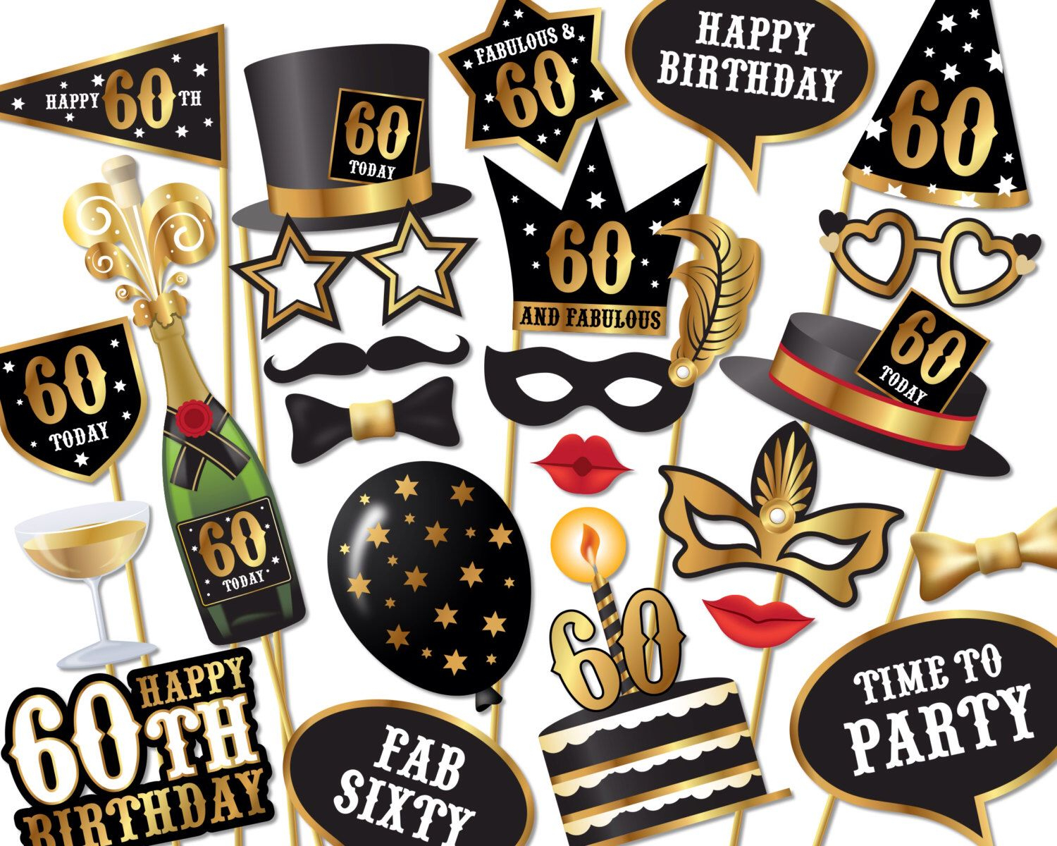 60Th Birthday Photo Booth Props - Instant Download Printable Pdf - Free Printable 70's Photo Booth Props