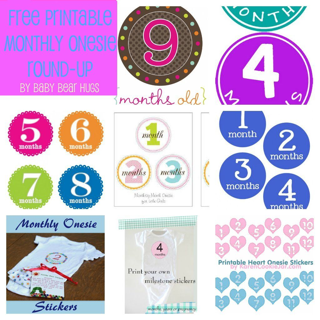 7 Free Printable Month Stickers Round-Up | Printable Petey | Free - Free Printable Baby Month Stickers