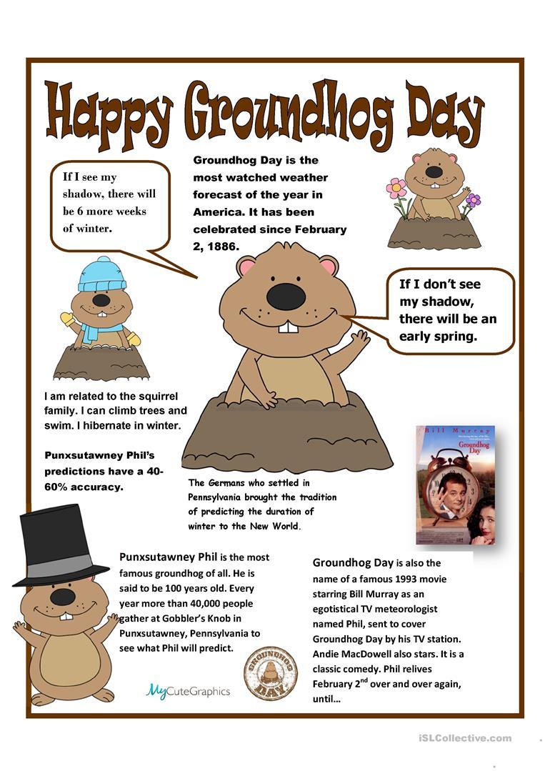 8 Free Esl Groundhog Day Worksheets - Free Printable Groundhog Day Reading Comprehension Worksheets
