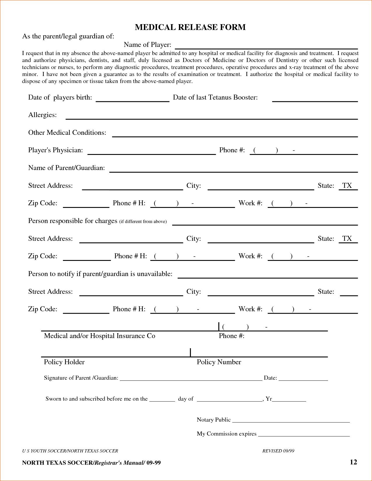 8+ Free Printable Medical Forms   Memo Formats - Free Printable Medical Forms