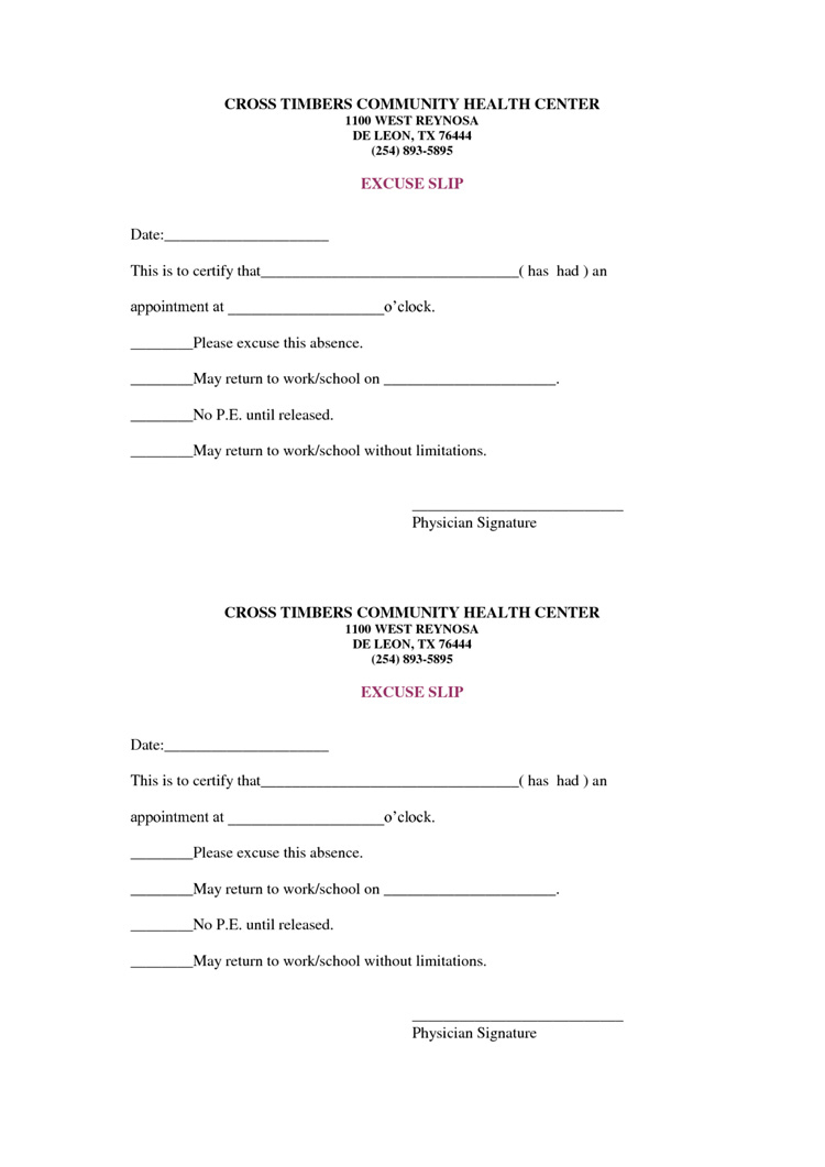 9 Best Free Doctors Note Templates For Work | Every Last Template - Free Printable Doctors Note For Work