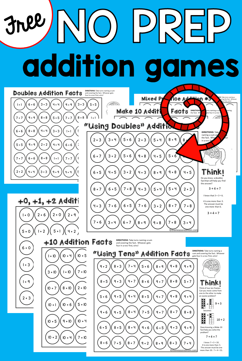9 Free Addition Games - The Measured Mom - Free Printable Maths Games