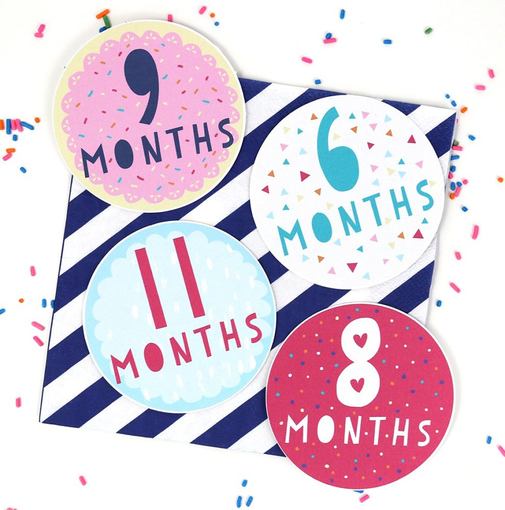 9 Free Printable Monthly Baby Stickers - Pretty My Party - Party Ideas - Free Printable Baby Month Stickers