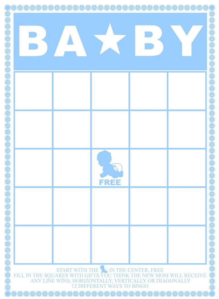 A Blue And White Baby Shower Bingo Card. | Baby Shower | Pinterest - Free Printable Baby Shower Bingo Cards Pdf