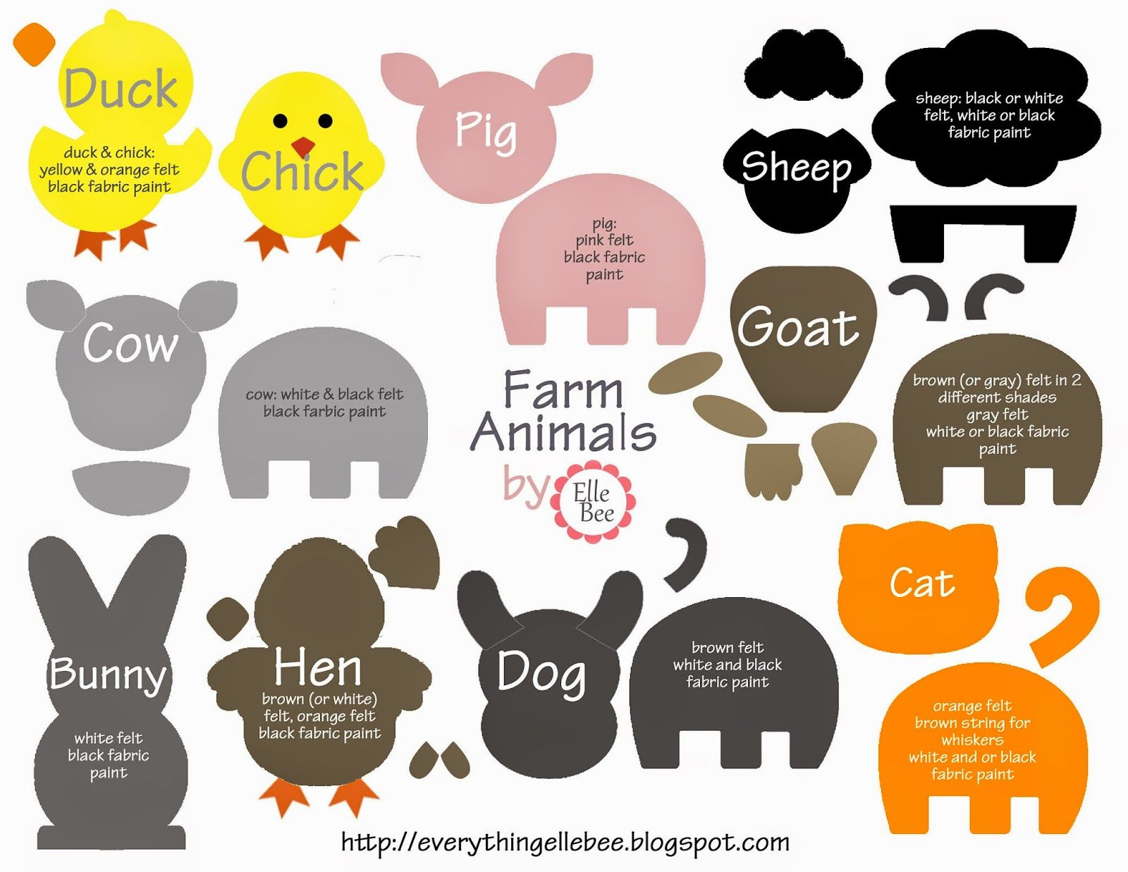 A Little Bit Of Everything : Free Printable Farm Animal Template - Free Printable Farm Animals
