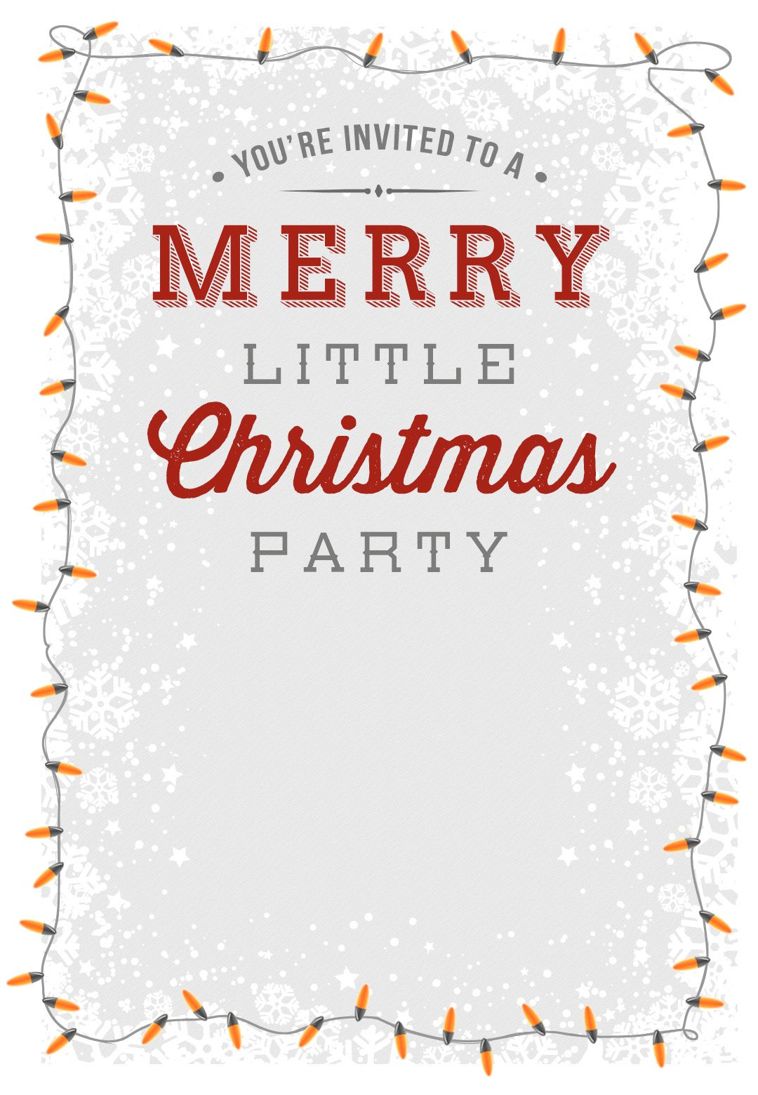 A Merry Little Party - Free Printable Christmas Invitation Template - Free Printable Christmas Party Flyer Templates