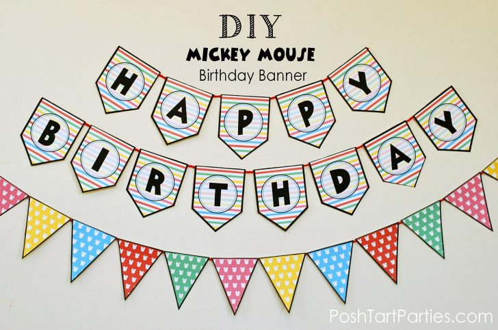 Free Printable Mickey Mouse Birthday Banner