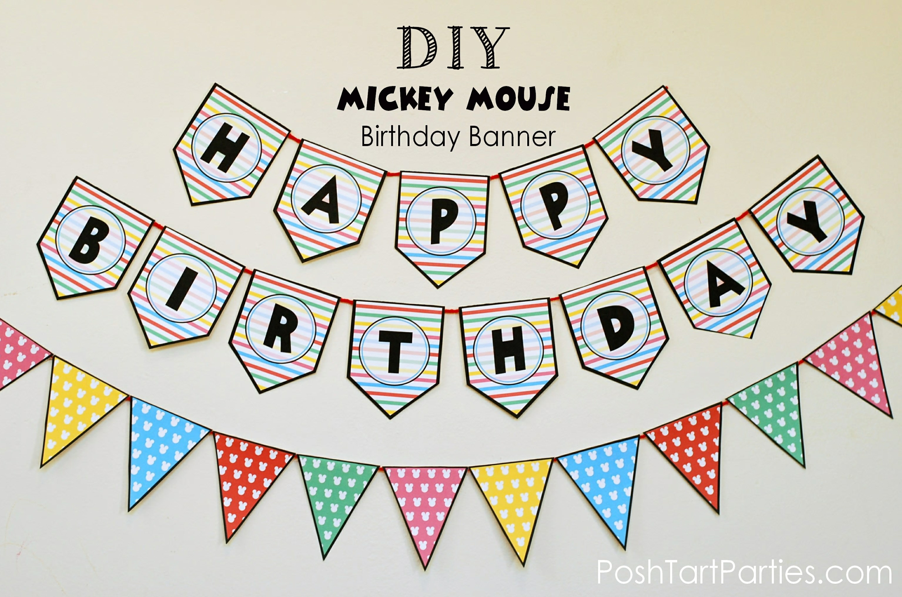 A Mickey And Minnie Mouse Party – Free Printable Happy Birthday - Free Printable Mickey Mouse Birthday Banner