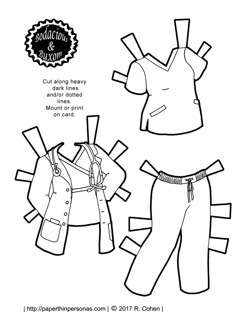 A Nurse Or Doctor Paper Doll Outfit To Print For Free   Paper Dolls - Free Printable Paper Dolls