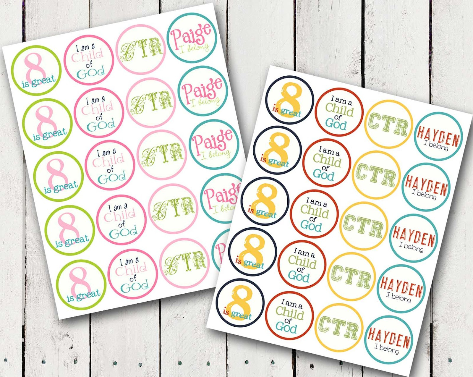 A Pocket Full Of Lds Prints: Ctr Cupcake Toppers - Free Diy Printable - Baptism Cupcake Toppers Printable Free