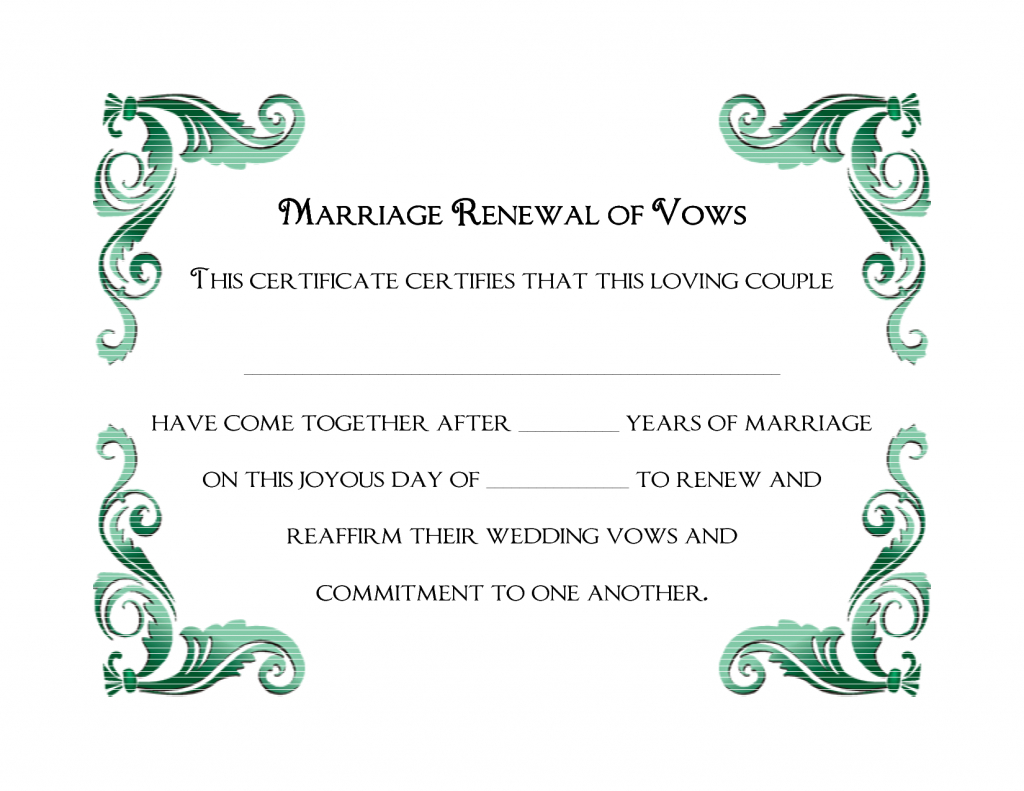 A Simple Green Frame Of Free Printable Wedding Vows Renewal - Commitment Certificate Free Printable