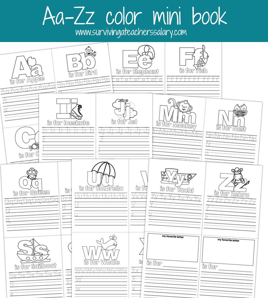 Aa-Zz Alphabet Letter Mini Color Book Practice Printable - Free Printable Alphabet Letters To Color