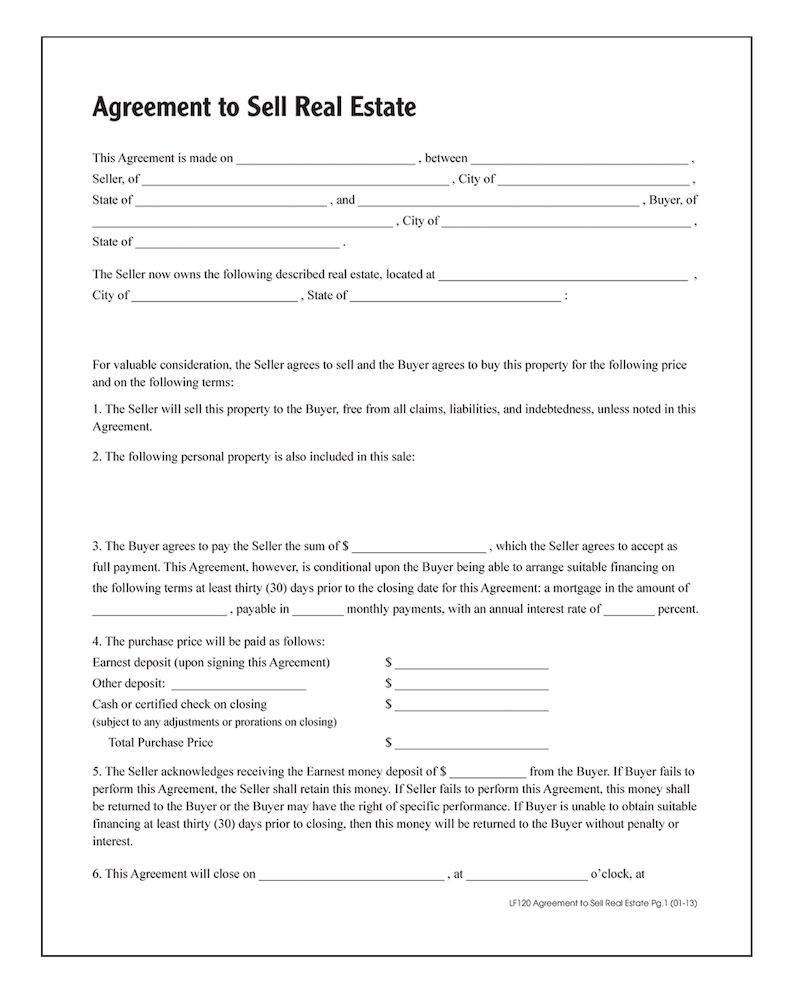 Adams Agreement To Sell Real Estate, Forms And Instructions - Free Printable Real Estate Forms