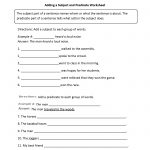 Adding A Subject And Predicate Worksheet | Englishlinx Board   Free Printable Subject Predicate Worksheets 2Nd Grade