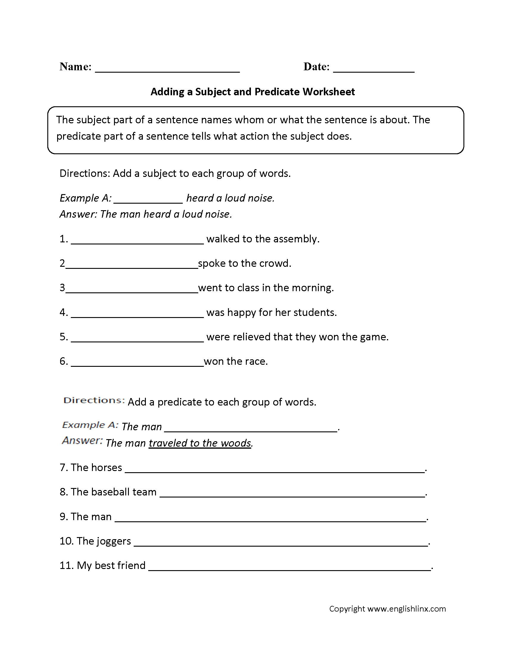 Adding A Subject And Predicate Worksheet | Englishlinx Board - Free Printable Subject Predicate Worksheets 2Nd Grade