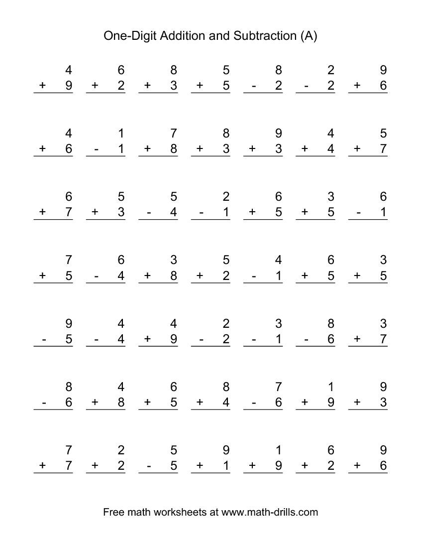 Adding And Subtracting Single-Digit Numbers (A) | Math | Addition - Free Printable Math Worksheets Addition And Subtraction