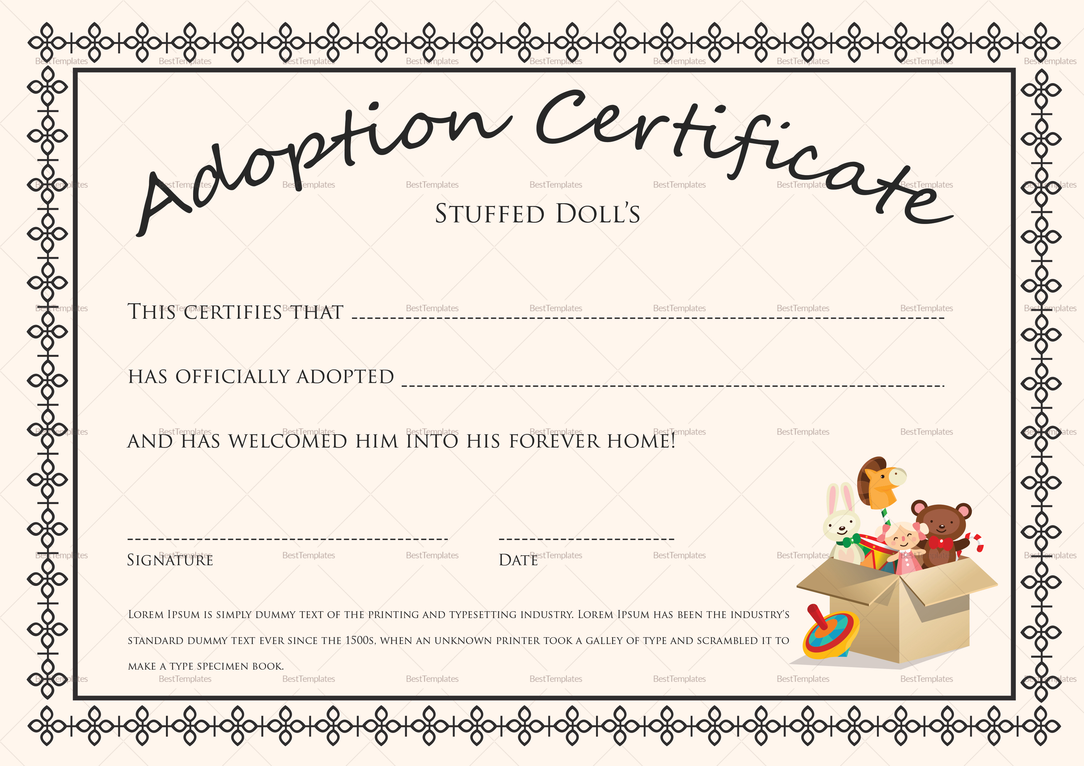 Adoption Certificate Template Free Download 200 Certificates In - Fake Adoption Certificate Free Printable