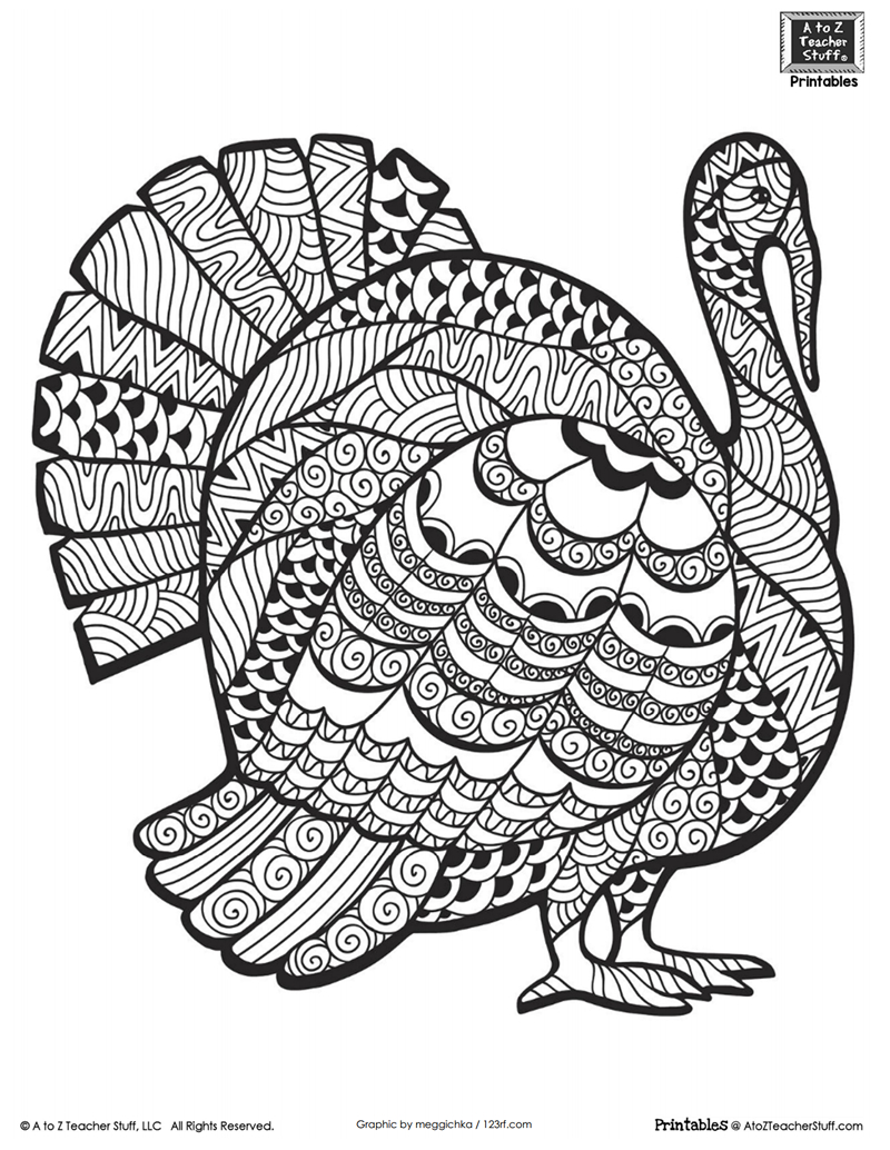 Advanced Coloring Page For Older Students Or Adults: Thanksgiving - Free Printable Turkey Coloring Pages