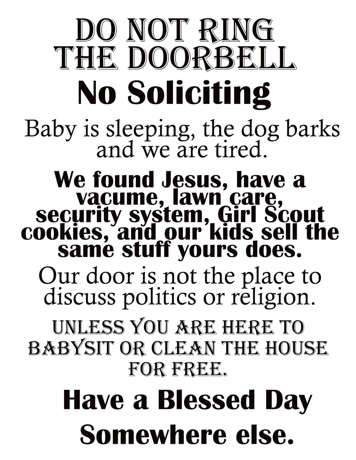 """Afloat In The Deep Blue: Printable """"no Soliciting"""" Sign.   Graphics - Free Printable No Soliciting Sign"""