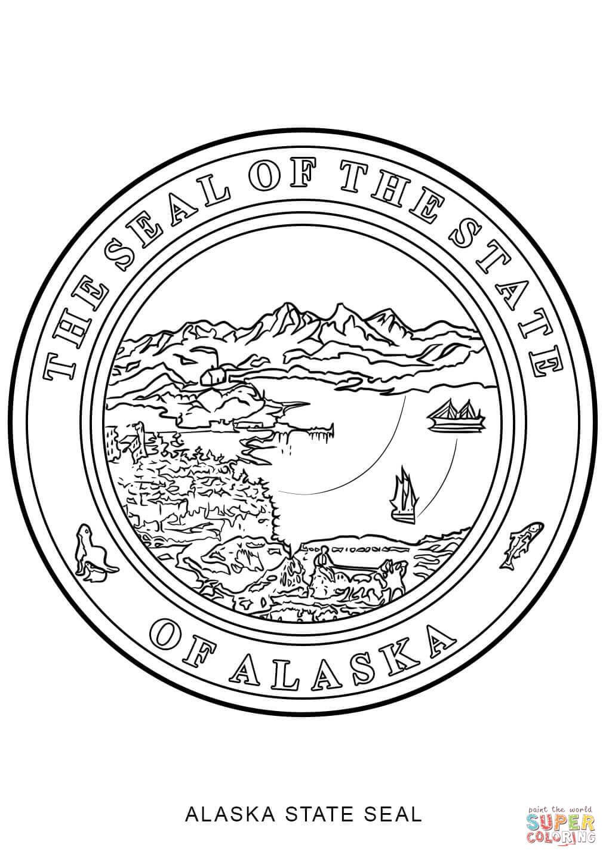Alaska State Seal Coloring Page | Free Printable Coloring Pages - Free Printable Pictures Of Alaska