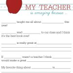 All About My Teacher | For The Darlins | Teacher Appreciation   All About My Teacher Free Printable