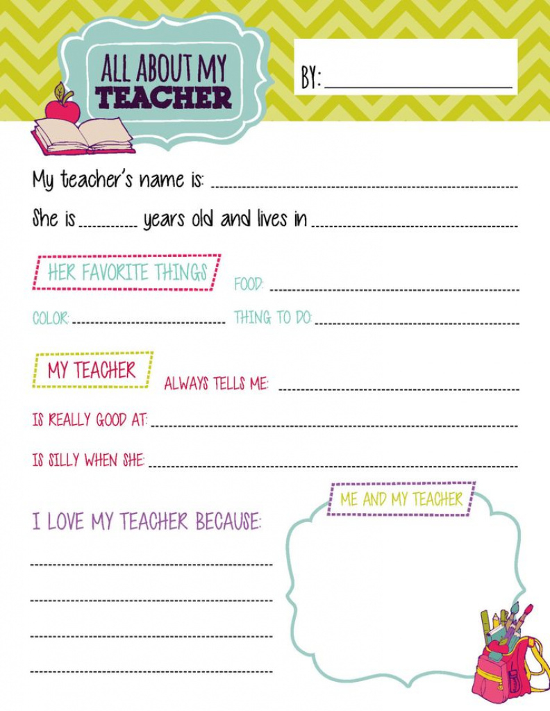 All About My Teacher Free Printable 253294E45795656Bb1518D61B13Bbecf - All About My Teacher Free Printable