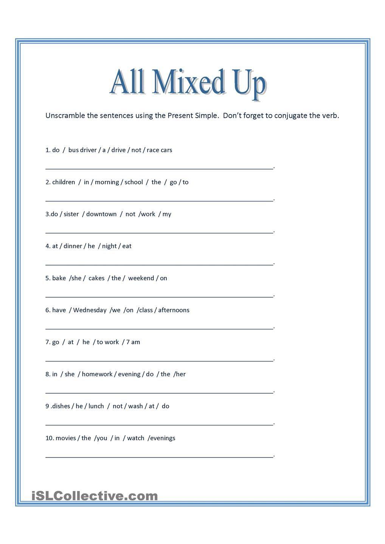 All Mixed Up ~ Sentence Scramble | Printable Banner | Pinterest - Free Printable Scrambled Sentences Worksheets
