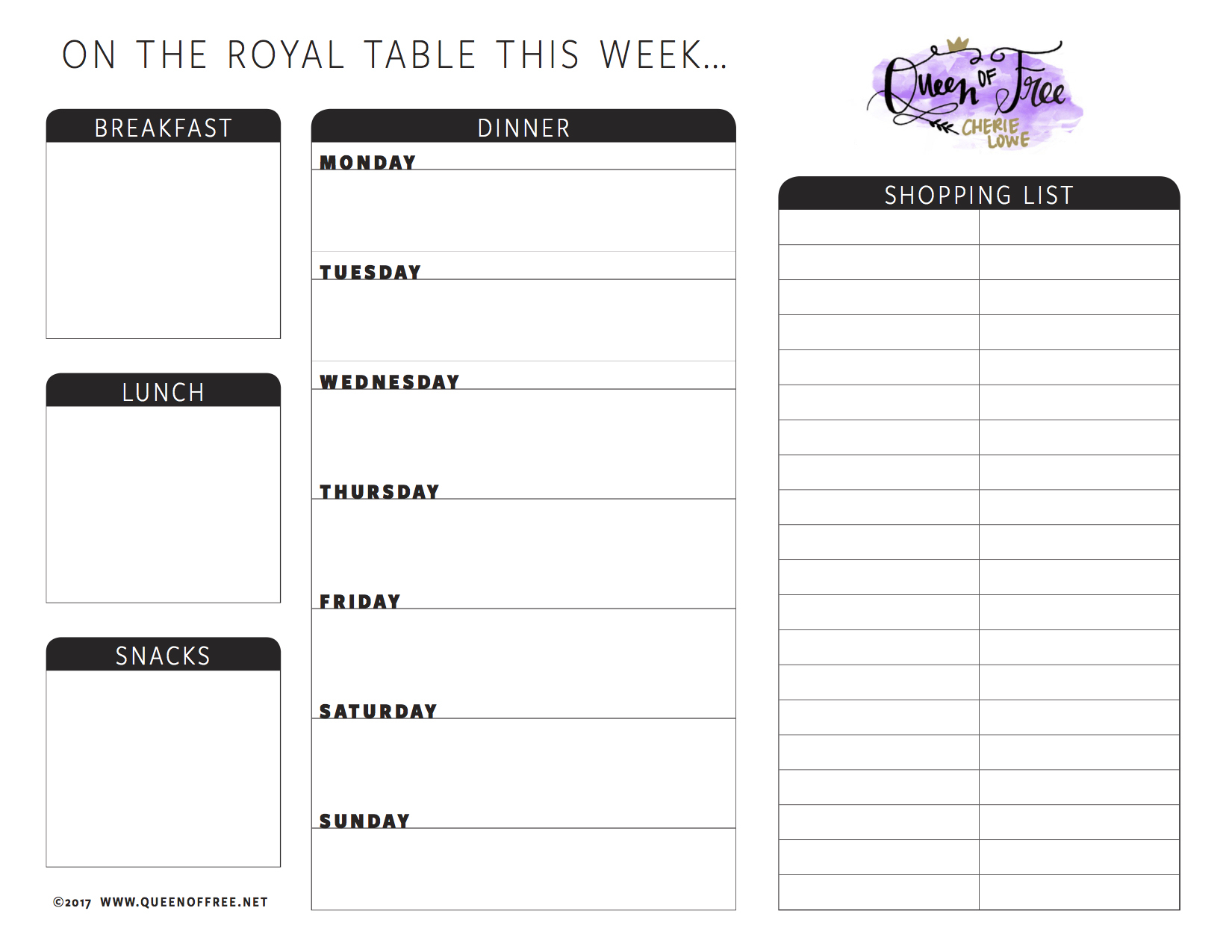 All New: Free Printable Meal Planner You Can Edit - Queen Of Free - Free Printable Weekly Meal Planner