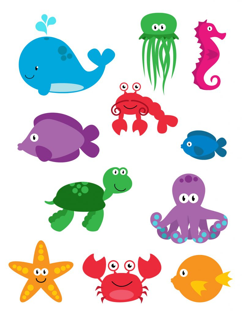 photo regarding Free Printable Sea Creature Templates called Attractive Printable Sea Creatures Colouring Inside Favourable Printable