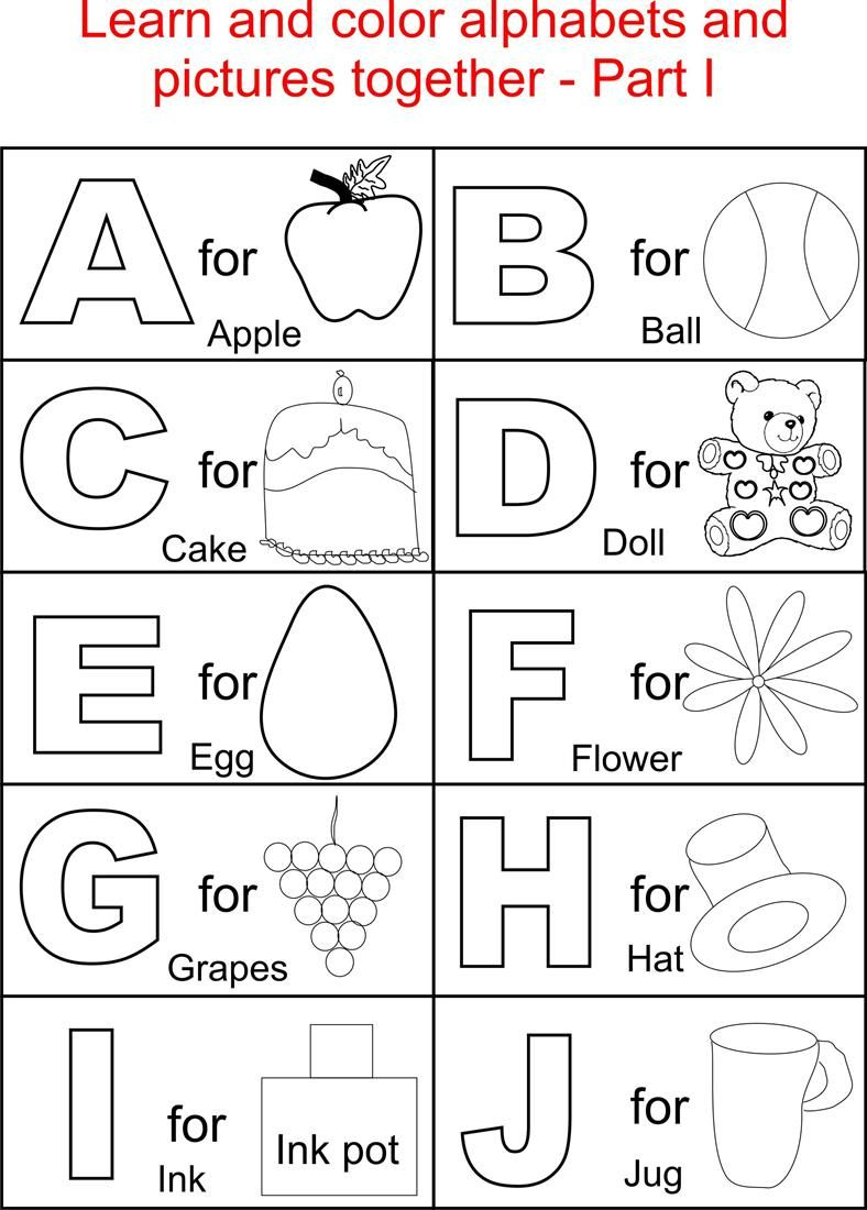 Alphabet Part I Coloring Printable Page For Kids: Alphabets Coloring - Free Printable Preschool Alphabet Coloring Pages