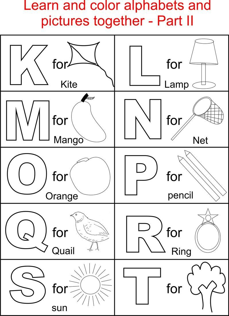 Alphabet Part Ii Coloring Printable Page For Kids: Alphabets - Free Printable Pages For Preschoolers