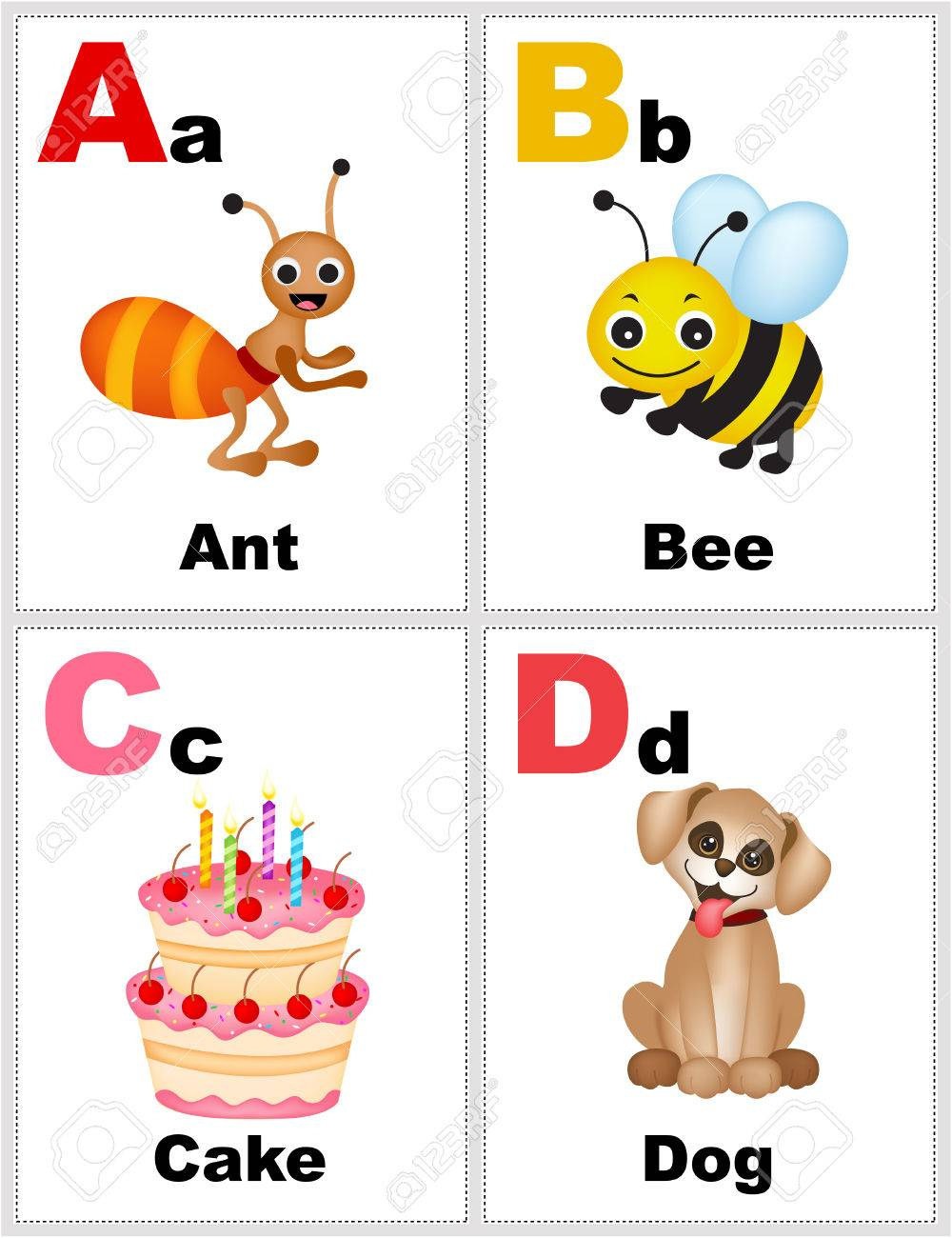 Alphabet Printable Flashcards Collection With Letter A,b,c,d - Free Printable Alphabet Flash Cards