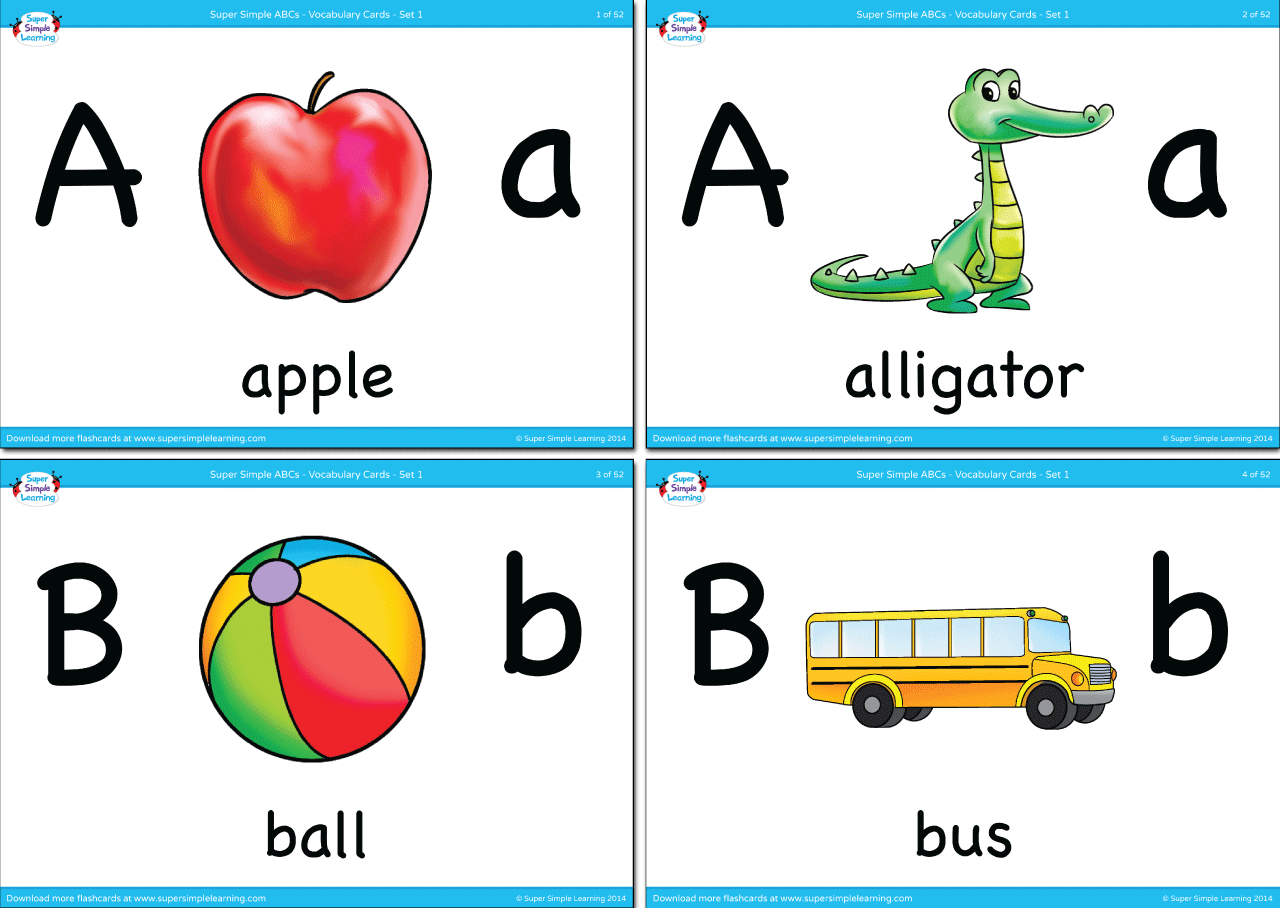 Alphabet Vocabulary Flashcards - Set 1 - Super Simple - Free Printable Vocabulary Flashcards