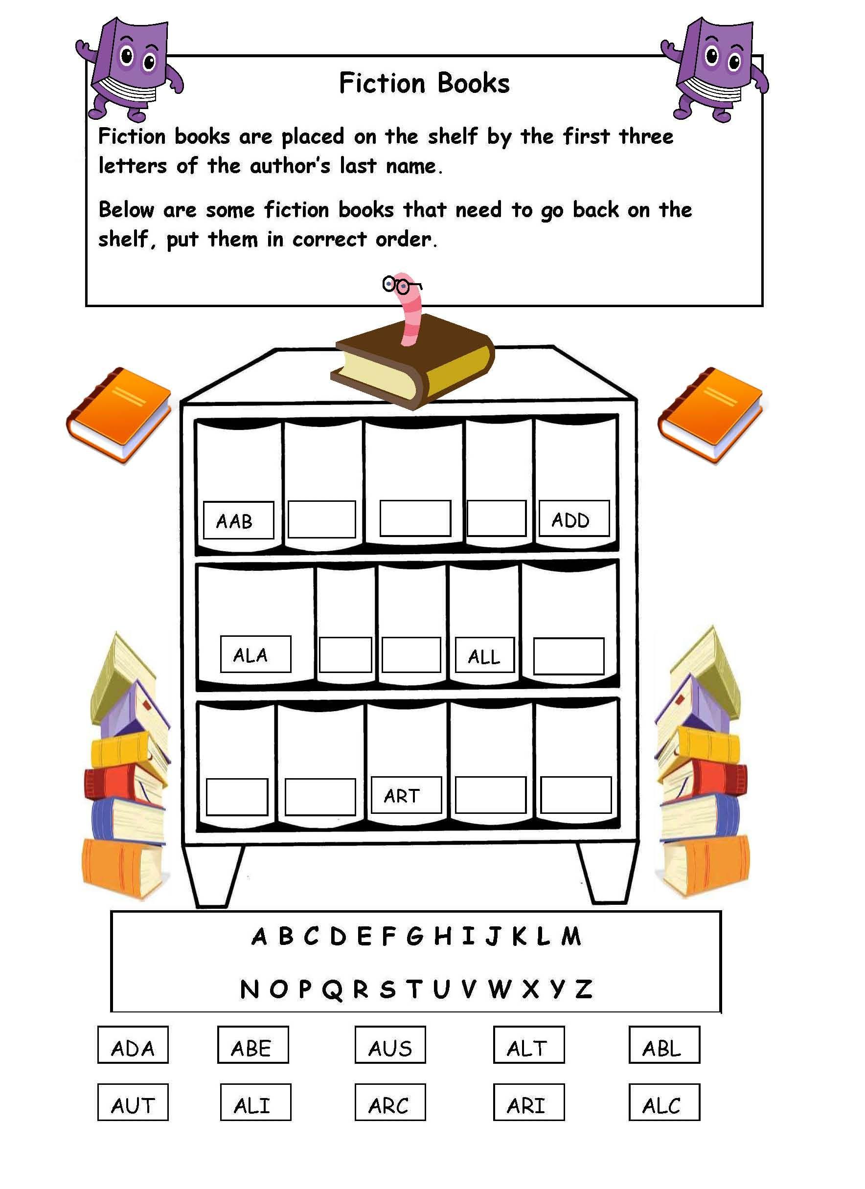 Alphabetical Order On The Shelf - Worksheet. | Library Skills - Free Printable Library Skills Worksheets
