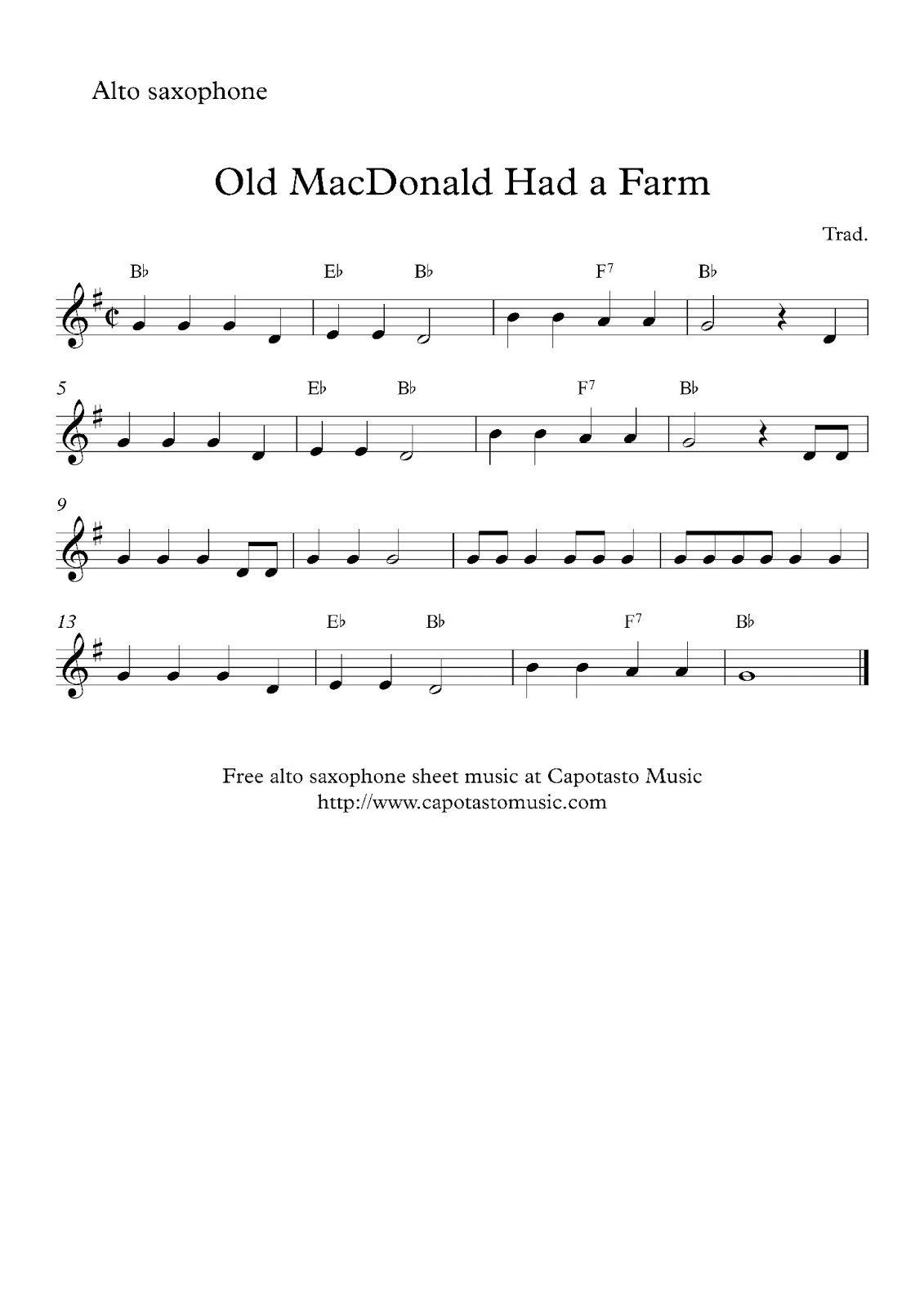 Alto Sax Easy Songs   Free Sheet Music Scores: Free Easy Alto - Free Printable Alto Saxophone Sheet Music