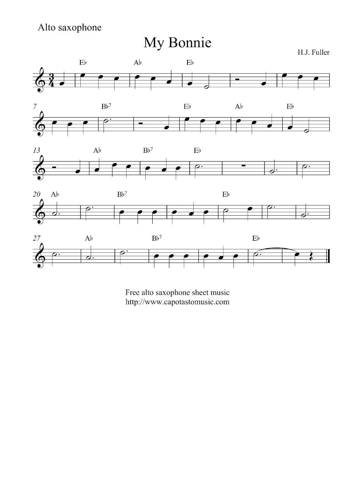 Alto Sax Easy Songs    Sheet Music Scores: Free Easy Alto - Free Printable Alto Saxophone Sheet Music
