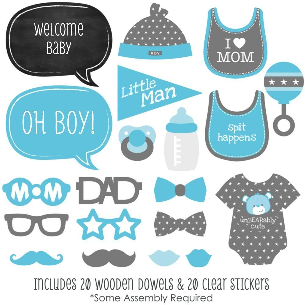 Amazon: Baby Boy - Piece Photo Booth Props Kit - 20 Count: Toys - Free Printable Baby Shower Photo Booth Props