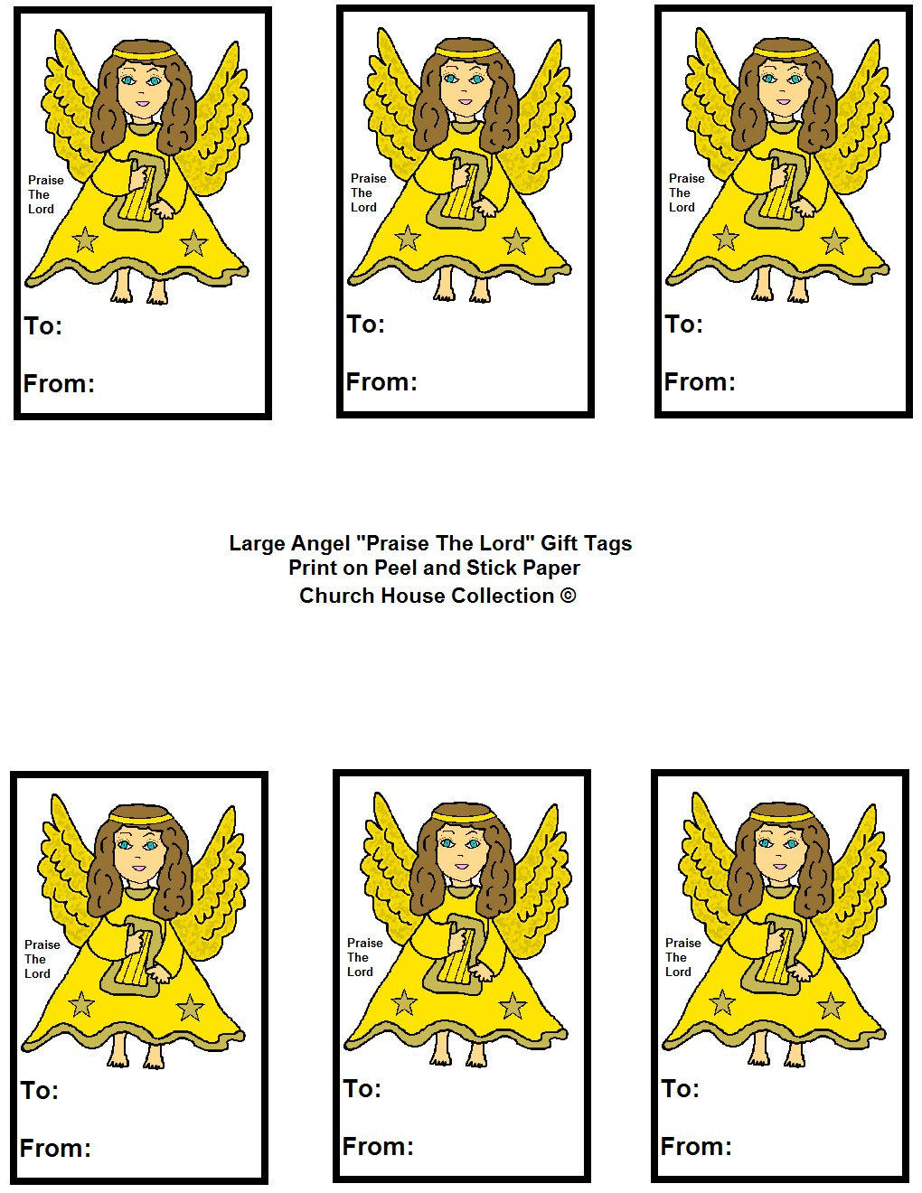 "Angel ""praise The Lord"" Sunday School Lesson For Kids - Free Printable Angel Gift Tags"