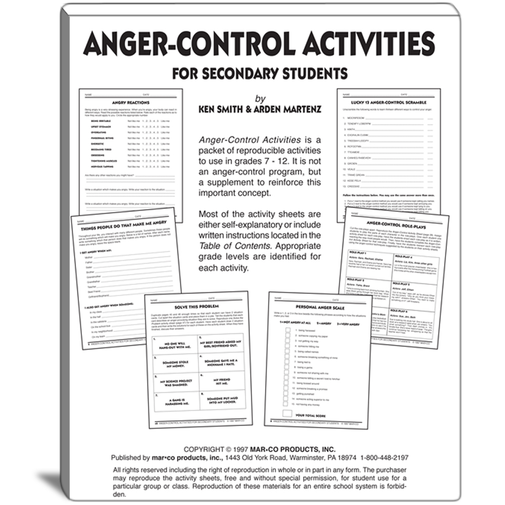 Anger Control Activities For Grades 7 To 12 - Free Printable Anger Management Activities