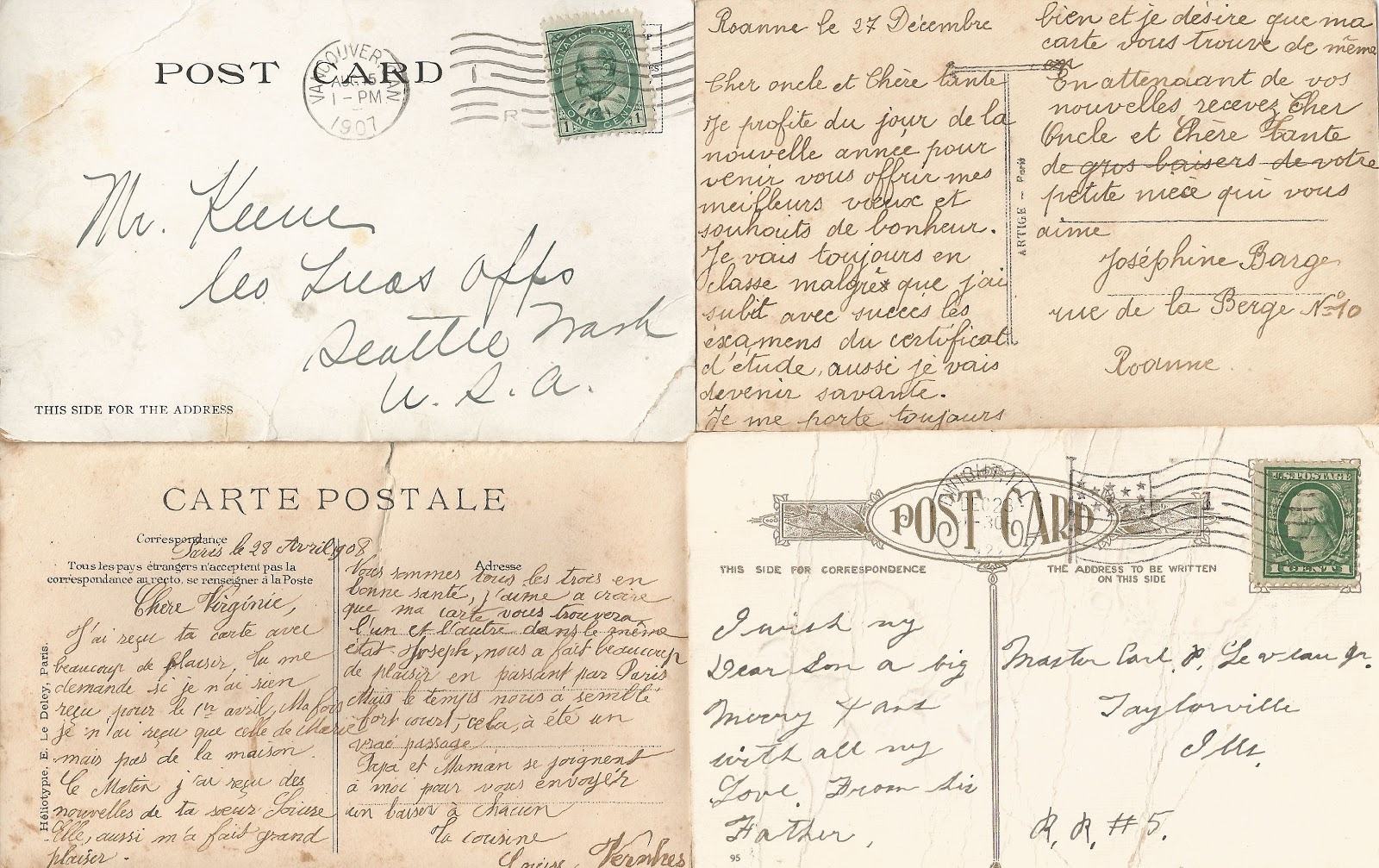 Antique Images: Free Printable Background: Vintage Postcard Back - Free Printable Background Pages
