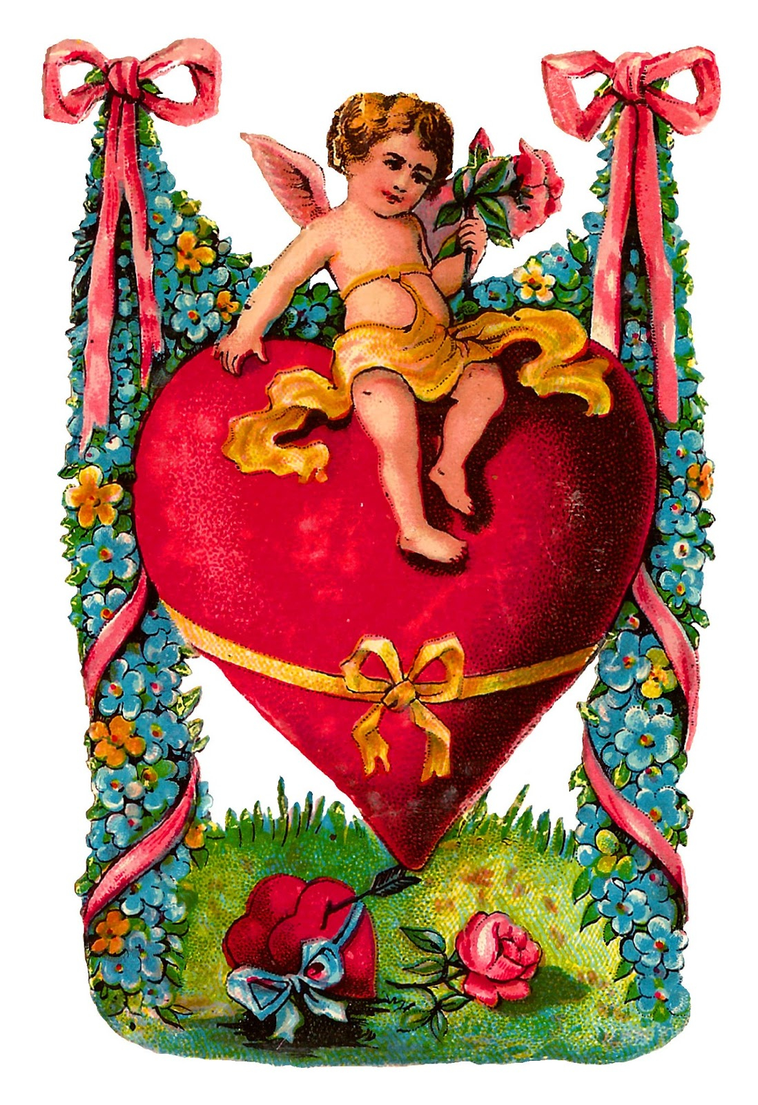 Antique Images: Free Printable Victorian Valentine Greeting Image - Free Printable Pictures Of Cupid