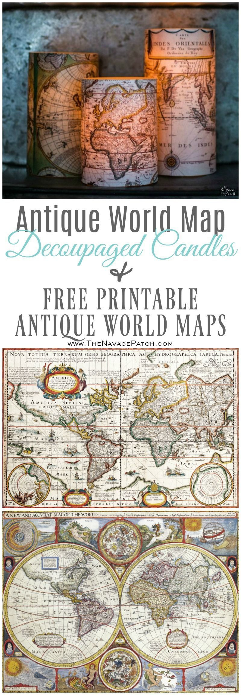 Antique World Map Decoupaged Candles | How To Decoupage | Free - Free Printable Decoupage Images