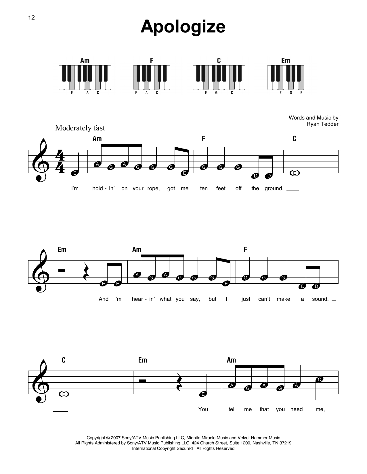 Apologize (Feat. Onerepublic) Sheet Music | Timbaland | Super Easy Piano - Apologize Piano Sheet Music Free Printable