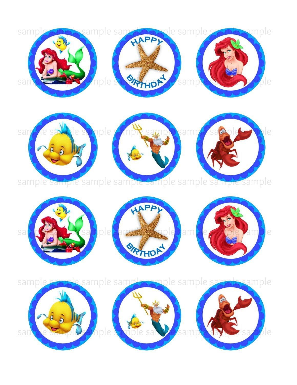 Ariel Cupcake Toppers Printable – Ezzy - Free Printable Mermaid Cupcake Toppers