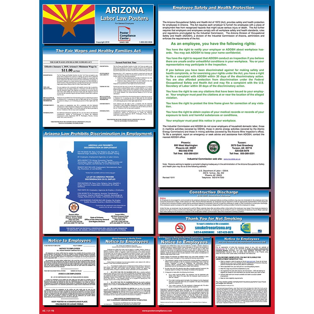 Arizona Labor Law Posters 2019   Poster Compliance Center - Free Printable Osha Posters