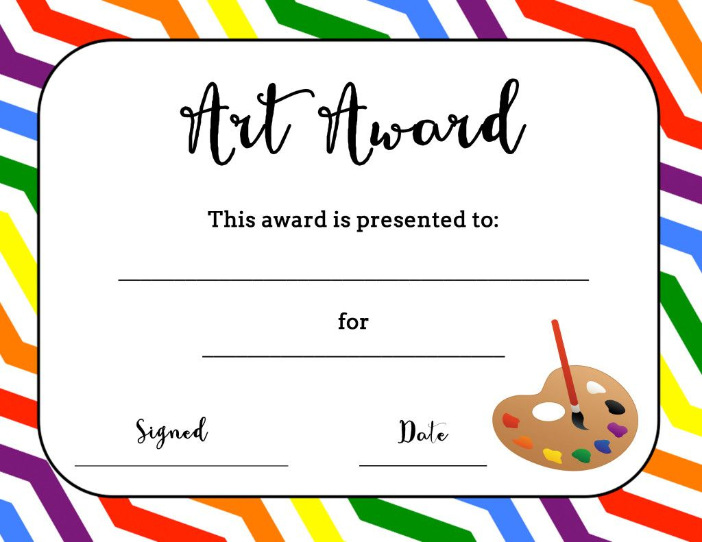 Art Award Certificate (Free Printable) | Art | Pinterest | Art - Free Printable School Certificates Templates